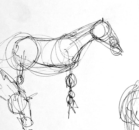 Pen life sketch of a horse standing.