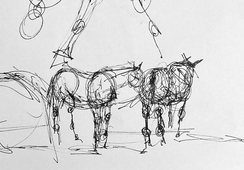 Pen life sketch of two horses standing.
