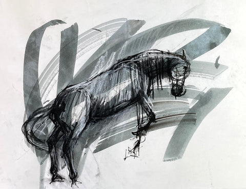 Expressive ink and mixed media drawing of a horse jumping.