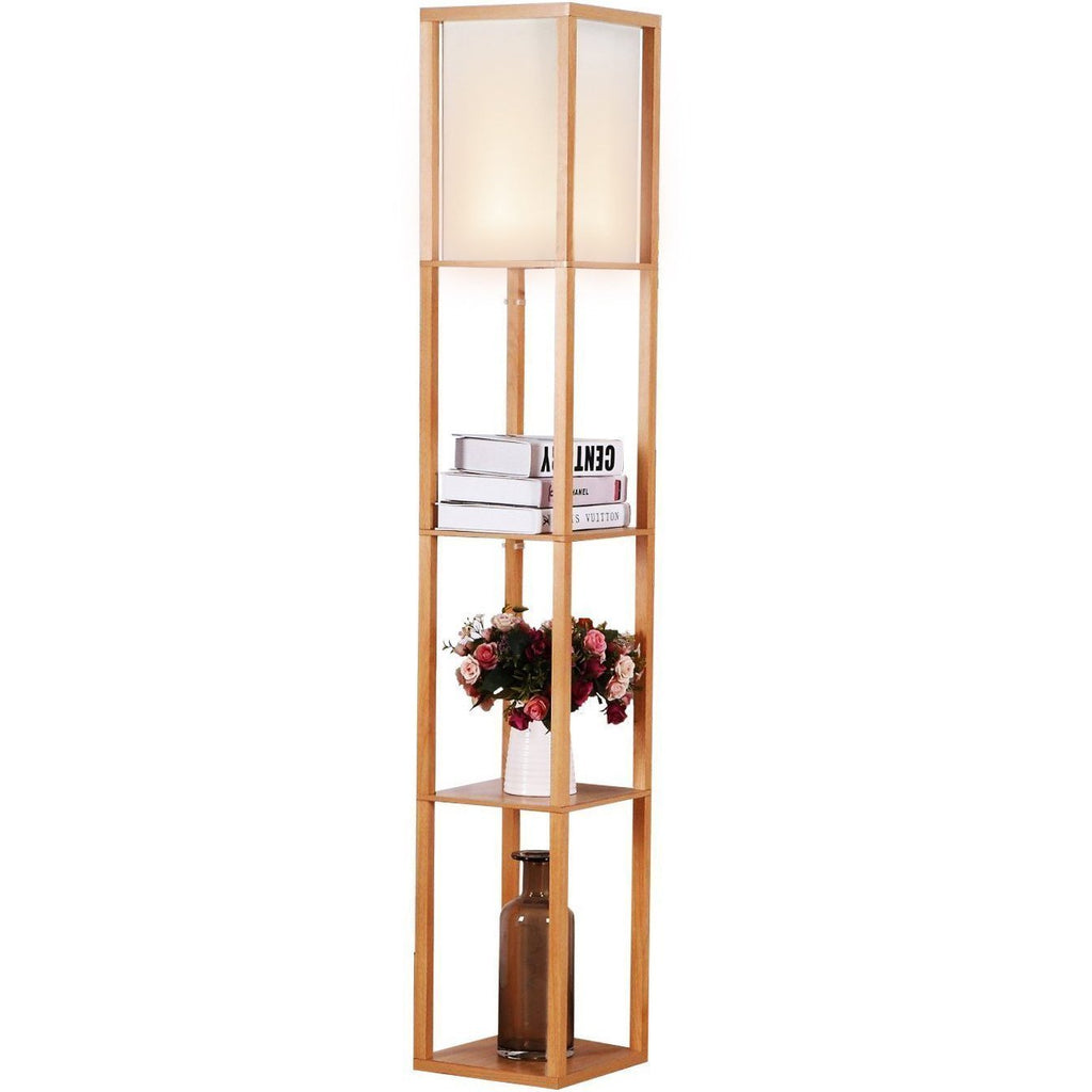 Maxwell LED Shelf Floor Lamp: Classic Edition   Modern Asian Style With  Wooden Frame U0026 Open Box Shelves   Standing, Soft Diffused Uplight