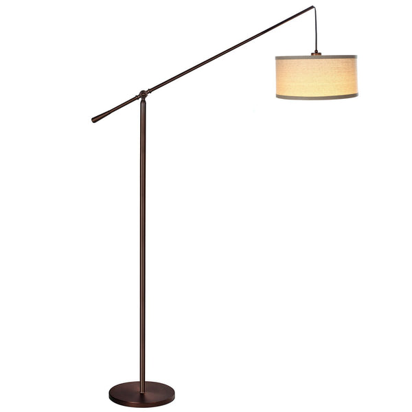 Brightech Hudson Pendant Floor Lamp – Classic Elevated Crane Arc Floor Lamp with Linen-Textured Hanging Lamp Shade- Tall, Industrial, Adjustable Uplight Lamp for Living Room - Bronze