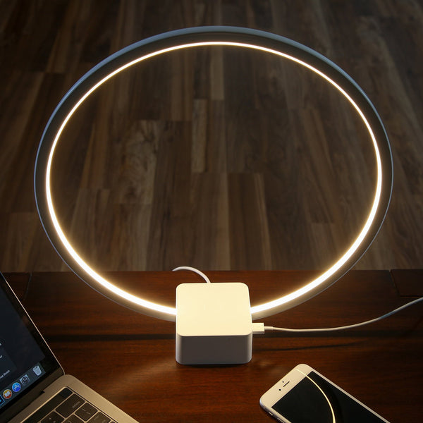 Circle LED USB Table & Desk Lamp – Bright Orb of Light with Built-in Dimmer Brings Sci-Fi Ambiance to Contemporary Spaces – USB Port for Charging iPhones –12 Watts