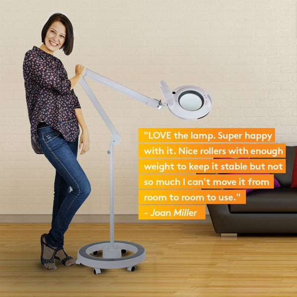 LightView Pro Dimmable LED Magnifying Floor Lamp with Wheels ...