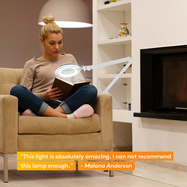LightView Pro Dimmable LED Magnifying Floor Lamp with Wheels (Rolling Base) & Powerful Hinge Arms To Keep Head In Place