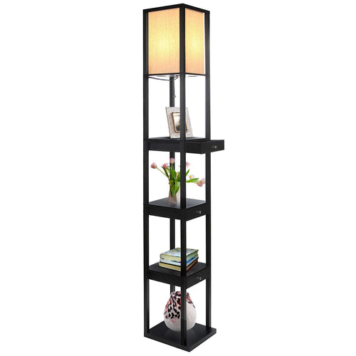 Maxwell LED Shelf Floor Lamp: Drawer Edition   Modern Asian Style With  Wooden Frame,