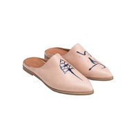 Genuine Leather Arab Motif Shoes in Bege