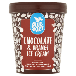 Blue Skies Chocolate & Orange Ice Cream, Dairy Free, Vegan, 125ml