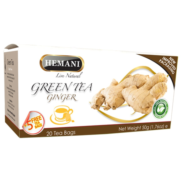 Hemani Green Tea Ginger, (20 Teabags), 50g