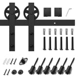 8ft Barn Door Hardware Kit: (Big Industrial Wheel)