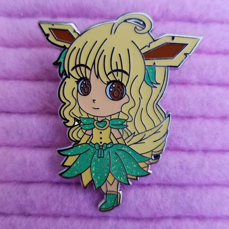 Grass Type inspired Chibi Hard Enamel Pin