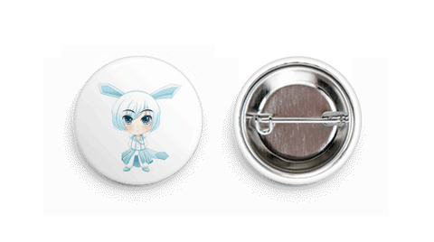 Glaceon Inspired Chibi Boy Button Badge