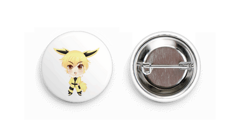 Jolteon Inspired Chibi Boy Button Badge