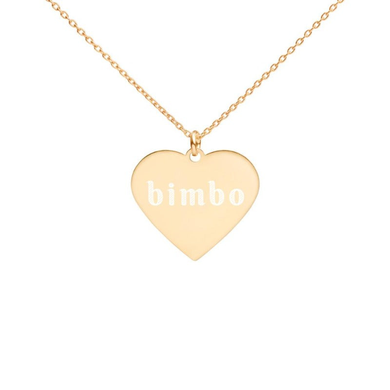 Bimbo Engraved Silver Heart Necklace