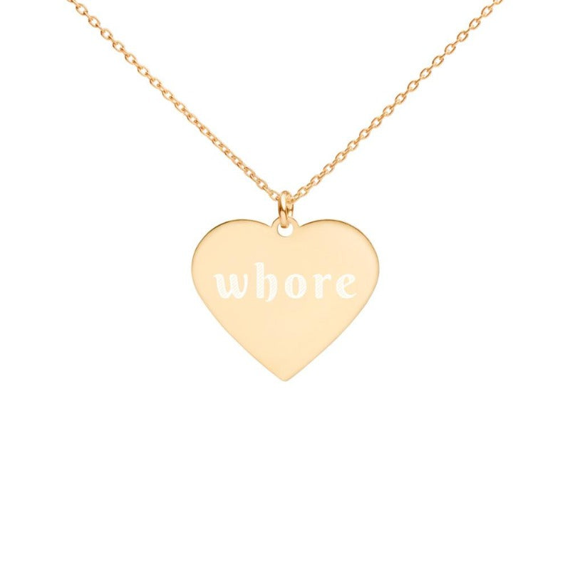 Whore Engraved Silver Heart Necklace