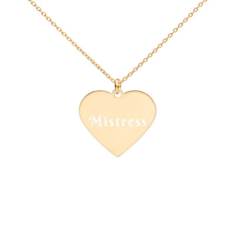 Mistress Engraved Silver Heart Necklace