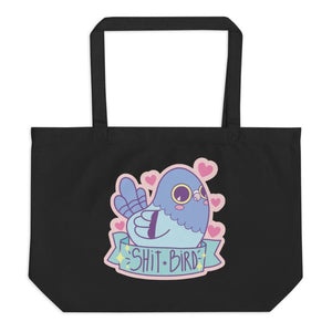Shit Bird Large organic Tote Bag