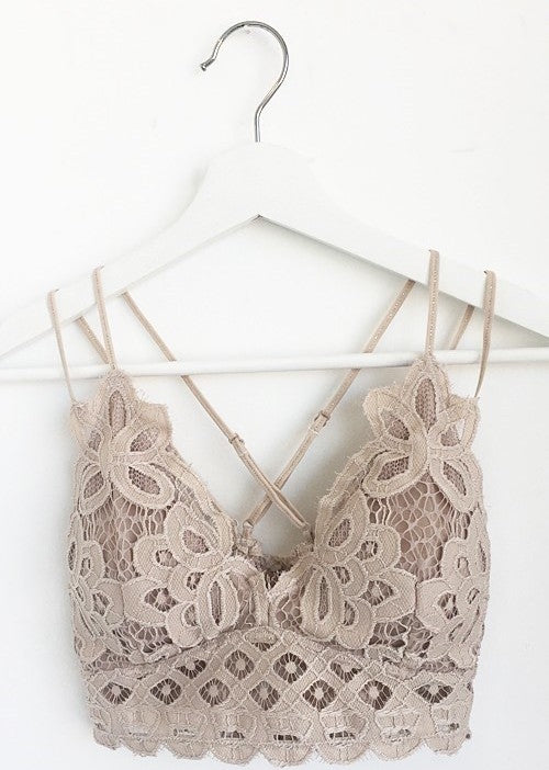 Lace Bralette in Taupe **RESTOCK