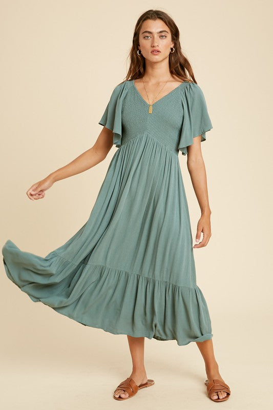 Melody Midi Dress Dusty Sage