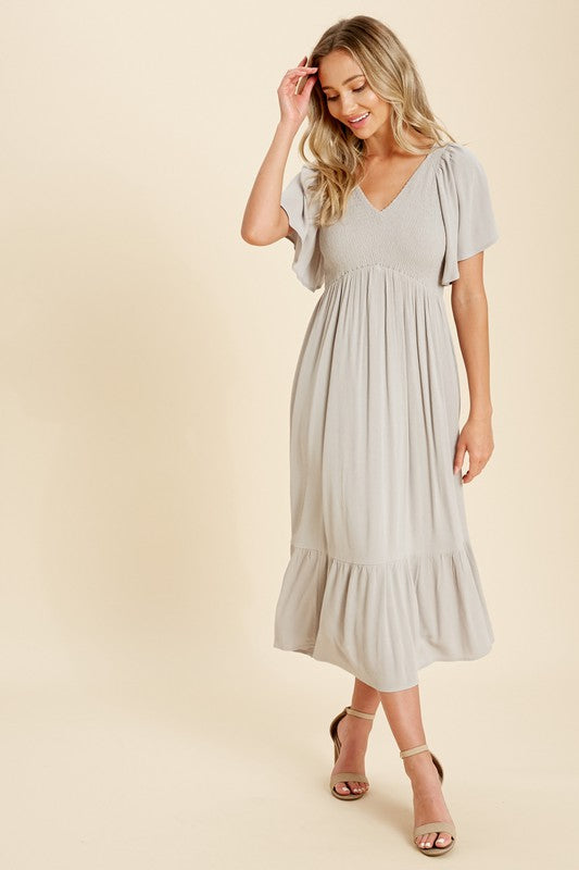 Melody Midi Dress in Dove Grey