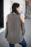 Bare With Me Washed Blouse in Olive - STONE AND WILLOW