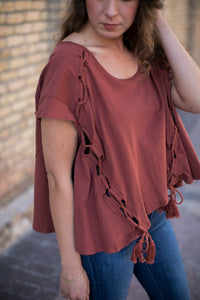 Jolene Lace Up Top in Rust - STONE AND WILLOW