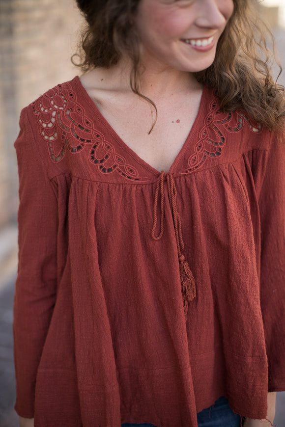 Rust Crochet Blouse - STONE AND WILLOW