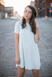 Walk the Line T-Shirt Dress in Sage - STONE AND WILLOW