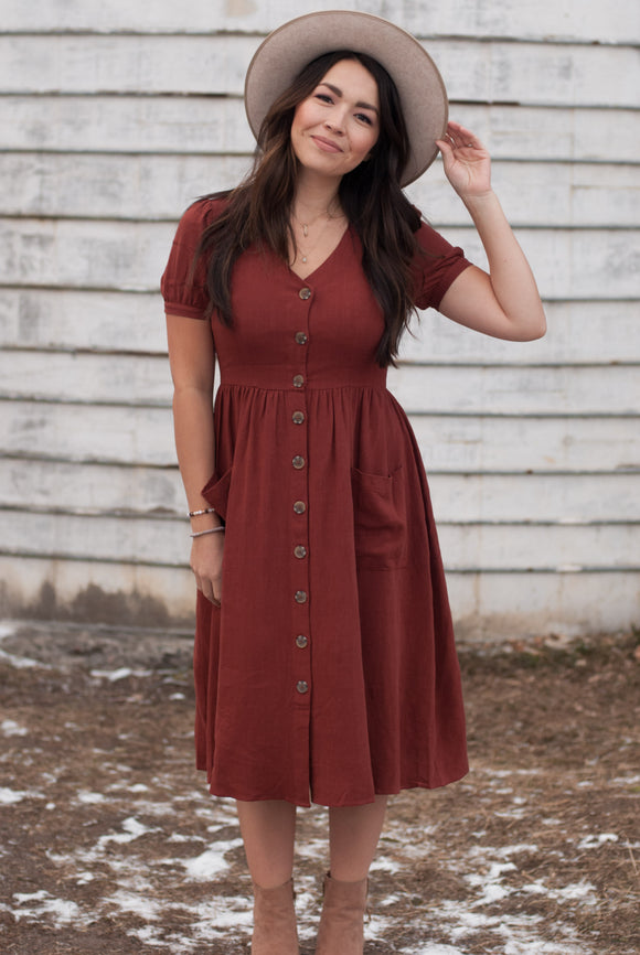 Sharlene Button Down Dress in Rust