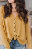 Taylor Waffle Knit Top in Mustard - FINAL SALE