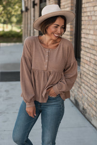 Rae Waffle Knit Top in Clay
