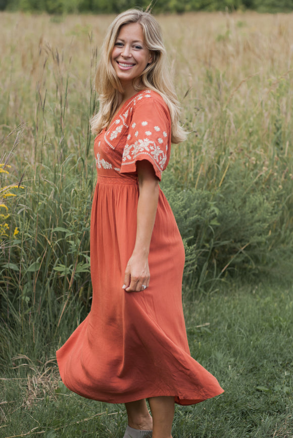 Ivy Midi Dress in Rust - FINAL SALE