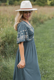 Ivy Midi Dress in Dusty Slate