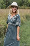 Ivy Midi Dress in Dusty Slate - FINAL SALE