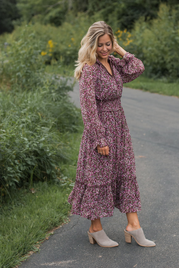 Staci Floral Midi in Maroon - FINAL SALE