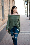 Olive You Thermal Brushed Cowl Neck - Final Sale - STONE AND WILLOW
