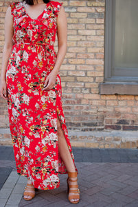 In Full Bloom Red Maxi Dress - STONE AND WILLOW