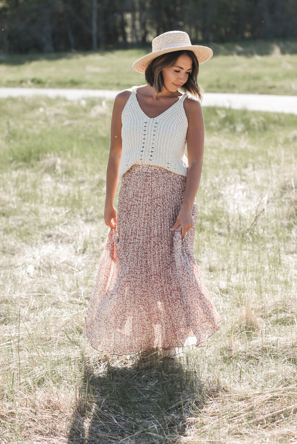 Wild And Free Pleated Midi Skirt