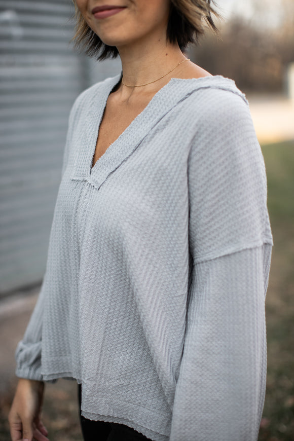 Zola Waffle Knit Top Blue Gray - DAILY DEAL