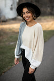 Colorblock Balloon Sleeve Sweater