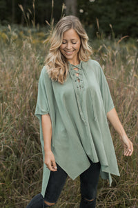 Andrea Lace Up Poncho