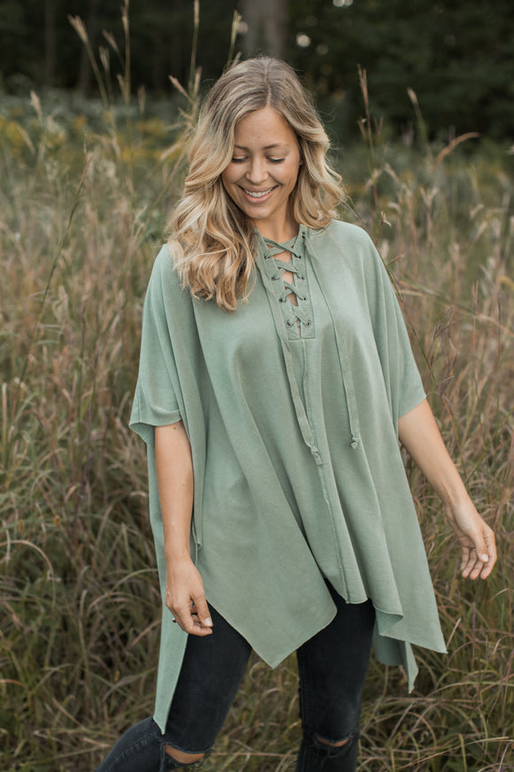 Andrea Lace Up Poncho - FINAL SALE