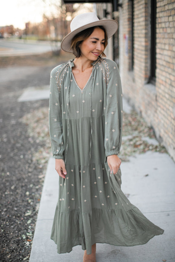 Sadie Embroidered Dress - Dusty Olive