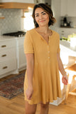 Ribbed Button Up Dress - Mustard