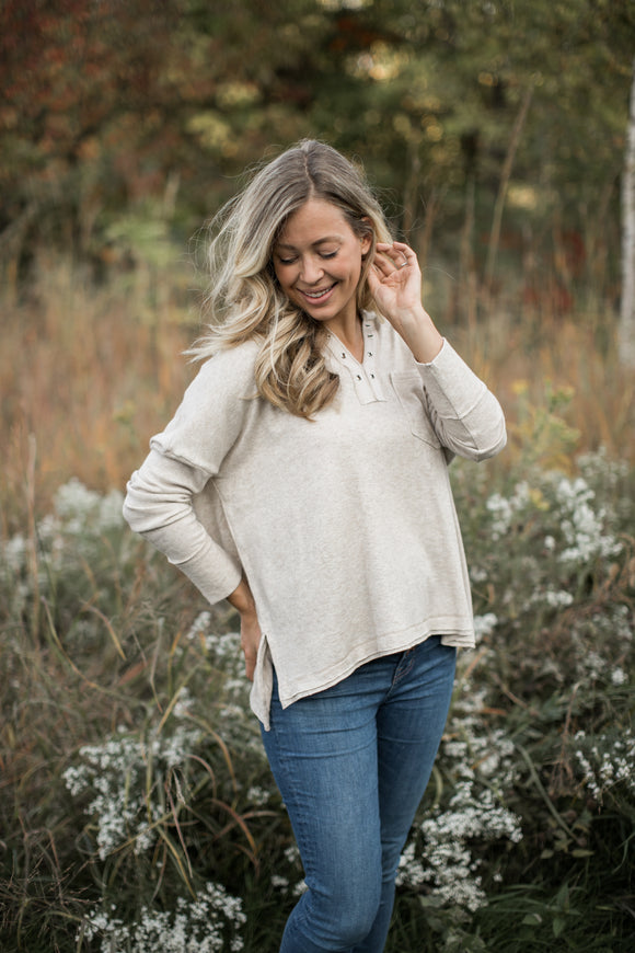 Olivia Knit Top in Oatmeal