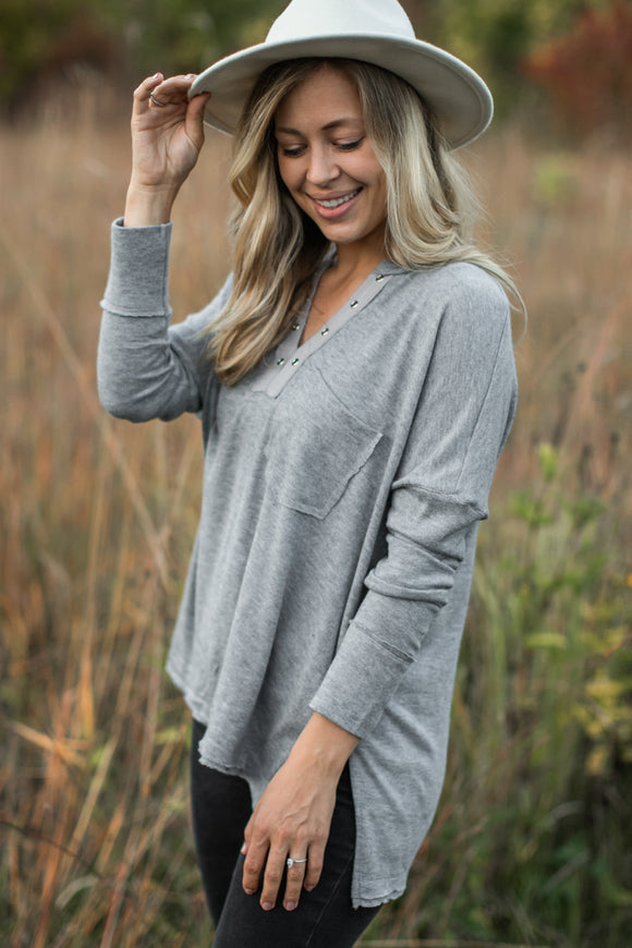 Olivia Knit Top in Grey