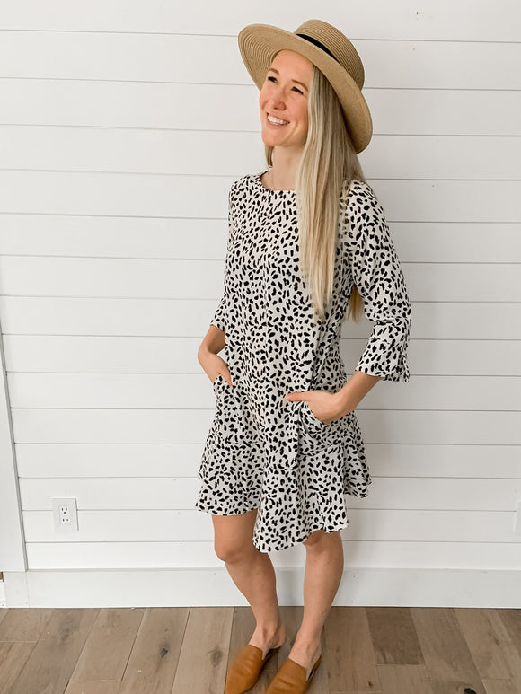 Leopard Shift Dress in White