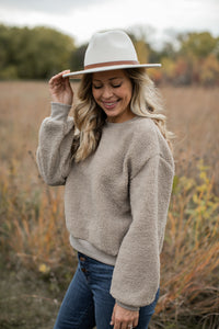 Mountains Are Calling Sweatshirt in Taupe - FINAL SALE