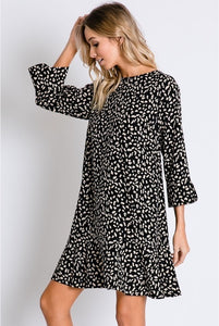 Leopard Shift Dress in Black