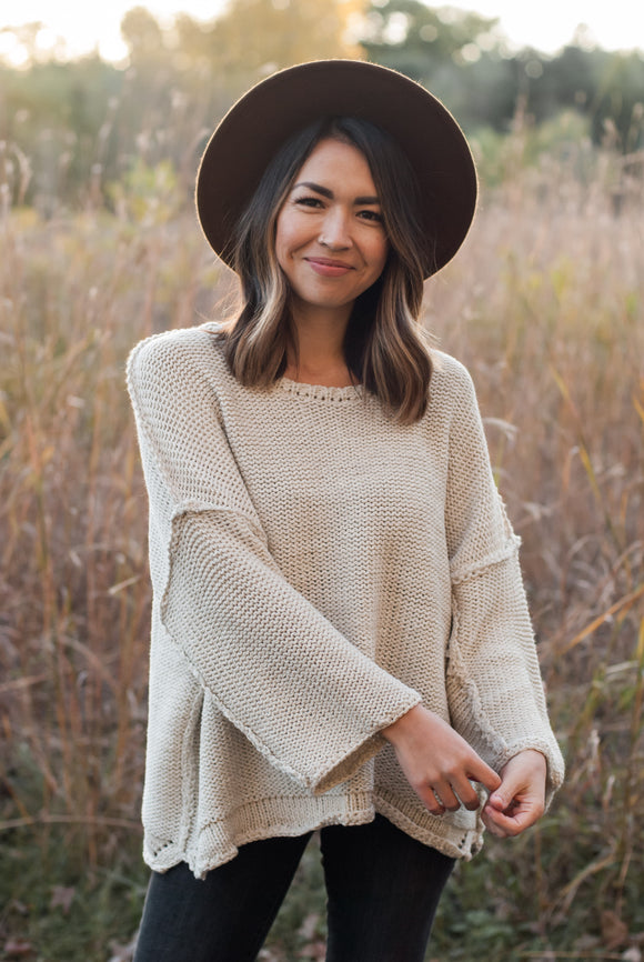 Marlowe Oversized Knit Sweater - Oatmeal