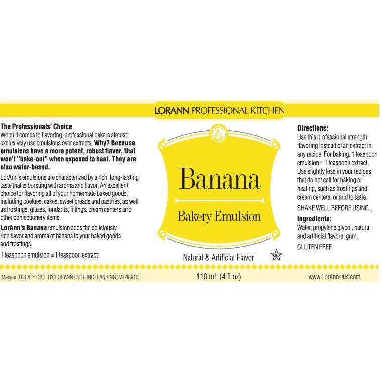 LorAnn Oils Banana, Bakery Emulsion   - 4 OZ
